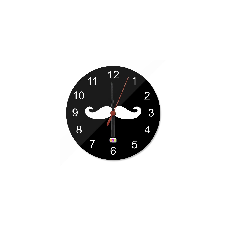 Orologio 20 cm in Vetro Baffi Hipster Moustache