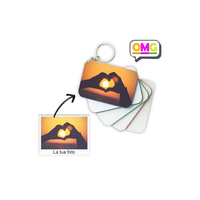 Portachiavi Rettangolare 8x5cm Personalizzato con la tua foto,  testo o logo. Colore a scelta