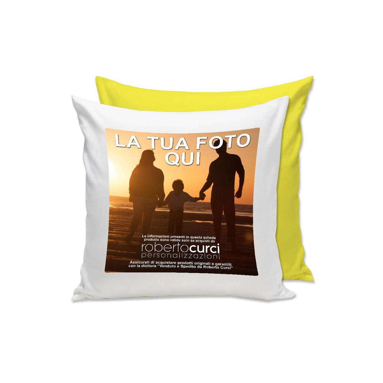 Cuscino Personalizzato con Foto e dedica 40x40cm Scelta Colore Retro Idea Regalo