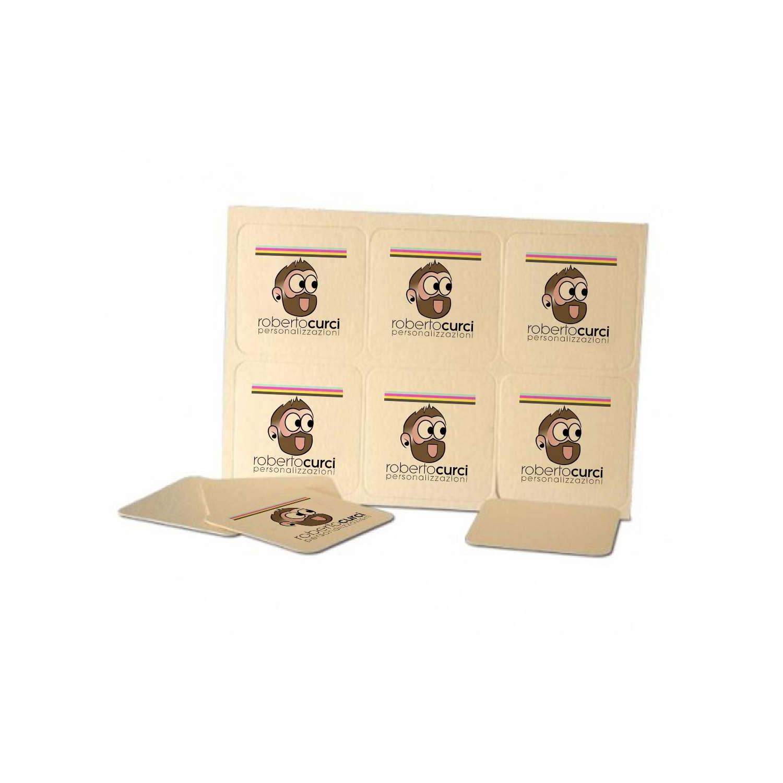 Sottobicchieri in cartone Personalizzati su due lati 10x10cm (12 Pezzi)