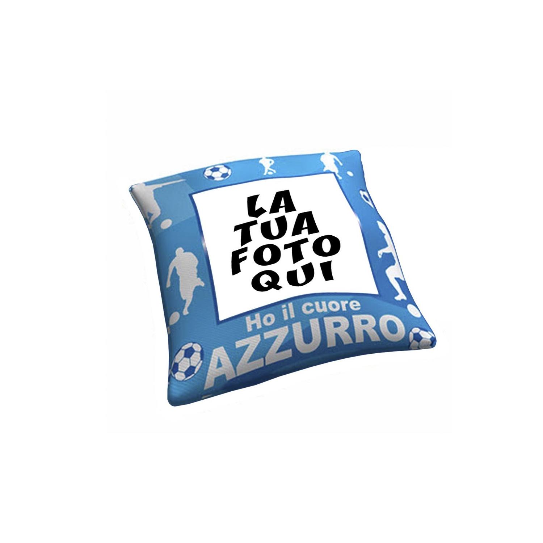 Cuscino Personalizzato Ho Il Cuore Azzurro Tifoso Calcio - Squadra del cuore