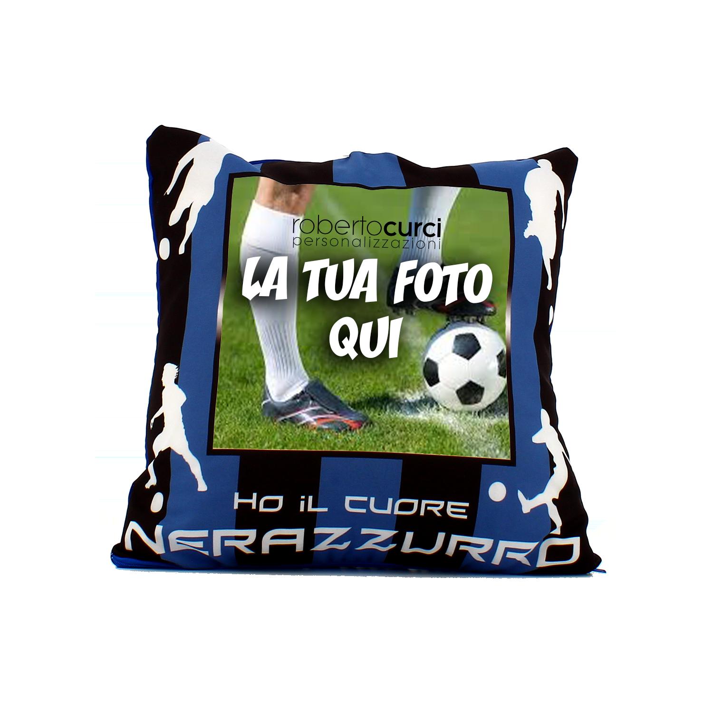 Cuscino Personalizzato Ho Il Cuore NeroAzzurro Tifoso Calcio - Squadra del cuore