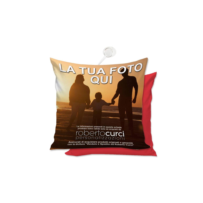 Cuscino Personalizzato con Ventosa da Vetro Quadrato retro rosso