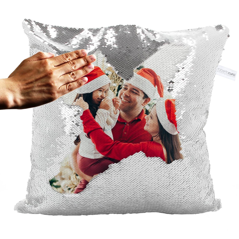 Cuscino Idea Regalo Natale Paillettes Argento con foto