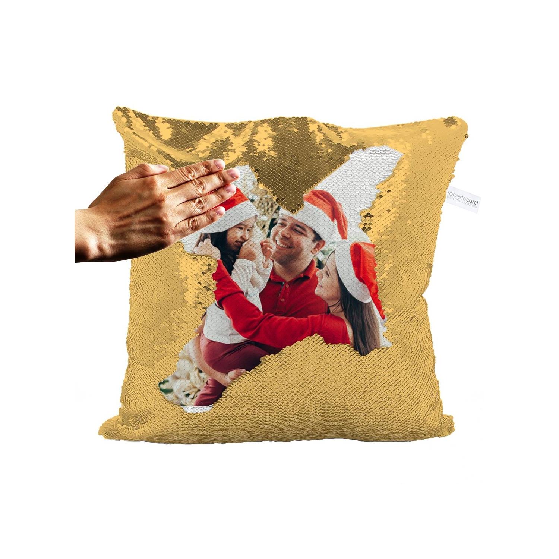 Cuscino Idea Regalo Natale Paillettes ORO con foto
